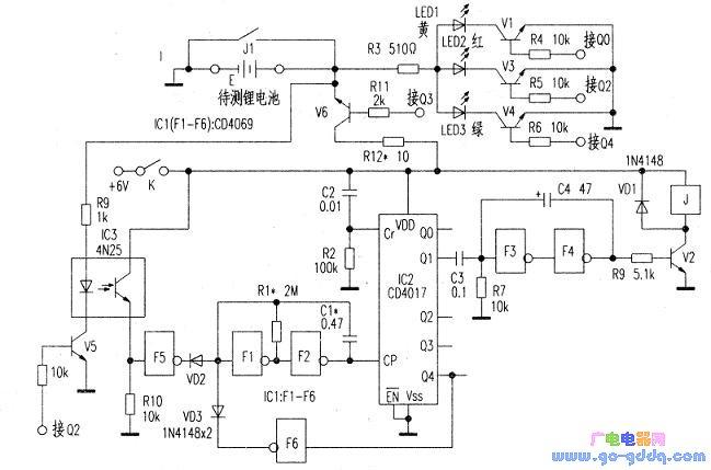 ic1(f1~f6)是六反相器cd4069,其中f1,f2组成周期为3s的方波振荡器.