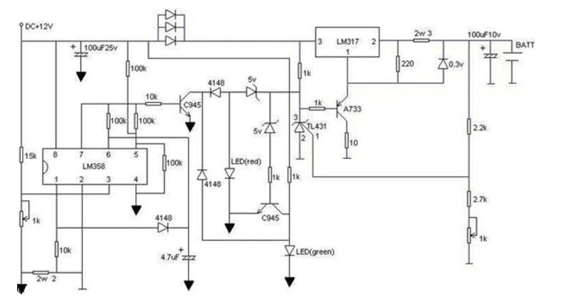 12.6V锂电池是由三节4.2V锂电池串联而成,因此12.6v锂电池充电器的电路设计即可适用于锂电池充电器电路原理图。   12.6v锂电池充电器电路原理图(一)    本电路带充电状态显示功能,红灯闪正在充,绿灯闪马上要充满,绿灯亮完全充满。只要您有12V的电源就可以,接完电路后先别装电池,调右下角的可调电阻,使电池输出端为4.