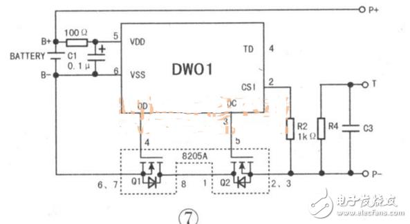 1.单节锂电池保护电路   单节锂电池充放电保护电路的具体组成方案较多,但工作原理相差不大,下面以在手机中用得较多的一种电路为例进行分析,供参考。   该电路的控制芯片为DW01(或312F),MOS开关管为8205A,如图6所示,B+、B-分别是接电芯的正、负极;P+、P-分别是保护板输出的正、负极;T为温度电阻(NTC)端口,一般需要与用电器的CPU配合才能进行保护控制。   DWO1或312F是一款锂电池保护芯片,内置有高精确度的电压检测与时间延迟电路,主要参数如下:过充检测电压为3V,过充释放